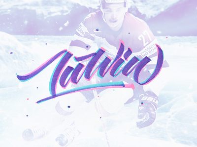 Latvia lettering bauer calligraphy brush lettering mountain ice pink blue purple hockey latvia riga