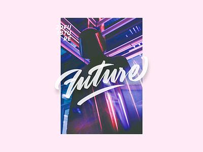 Future dark figure pastel neon poster type calligraphy lettering latvia riga