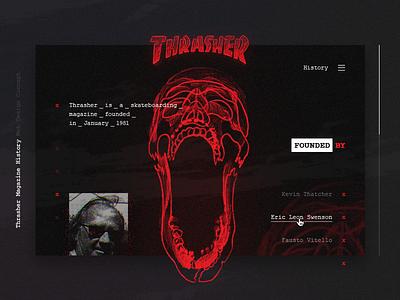 Thrasher Magazine History Web Design Concept skull red thrasher concept ux ui design web latvia riga