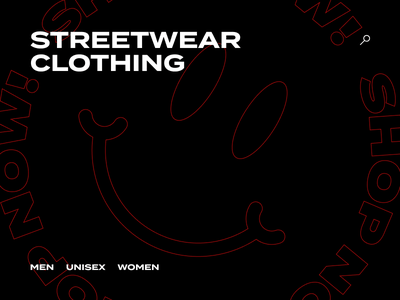 Streetwear Clothing Site Visual Concept ui brutalism grotesk typography circle red black website concept clothing