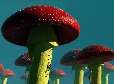 Shrooms! fantasy illustration design blender 3d blender