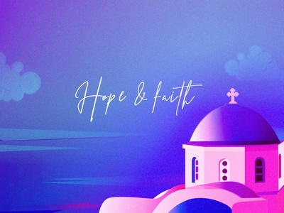 Hope and Faith abstract sea sky faith hope church architechture gradient design vibrant colors art vector illustration