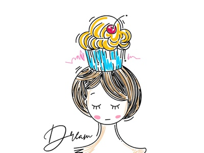 Cupcake girl simple art minimal dream cupcake girl character cute sketch line illustration