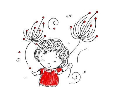Dandelions and Joy minimal white black red design line art sketch illustration cute boy joy dandelions