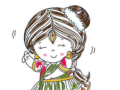 Indian dancer dance girl culture indian cartoon character design cute simple colors minimal line art illustration dancer indian