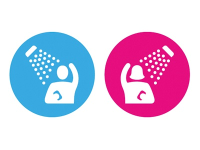 The Showers shower mens womens gender icons pictograms symbols