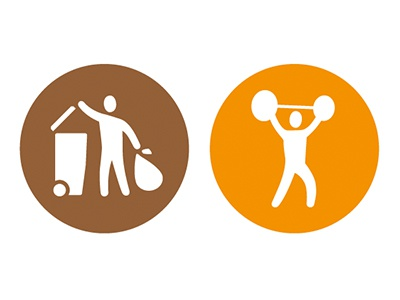 Waste Disposal and the Gym waste rubbish gym pictogram icon symbol
