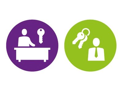 Rent Administration and Landlord landlord admin keys icon pictogram symbol