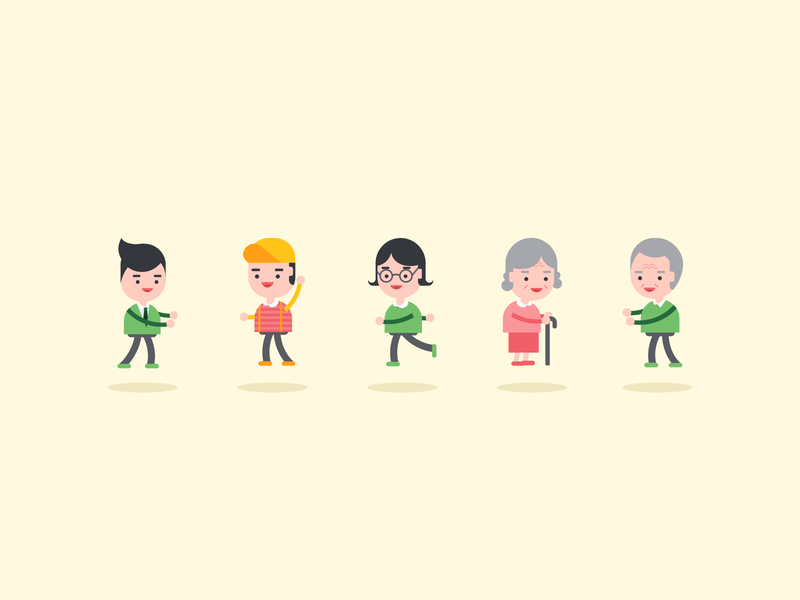 People Illustration vector character design family boy people illustration grandmother girl child character