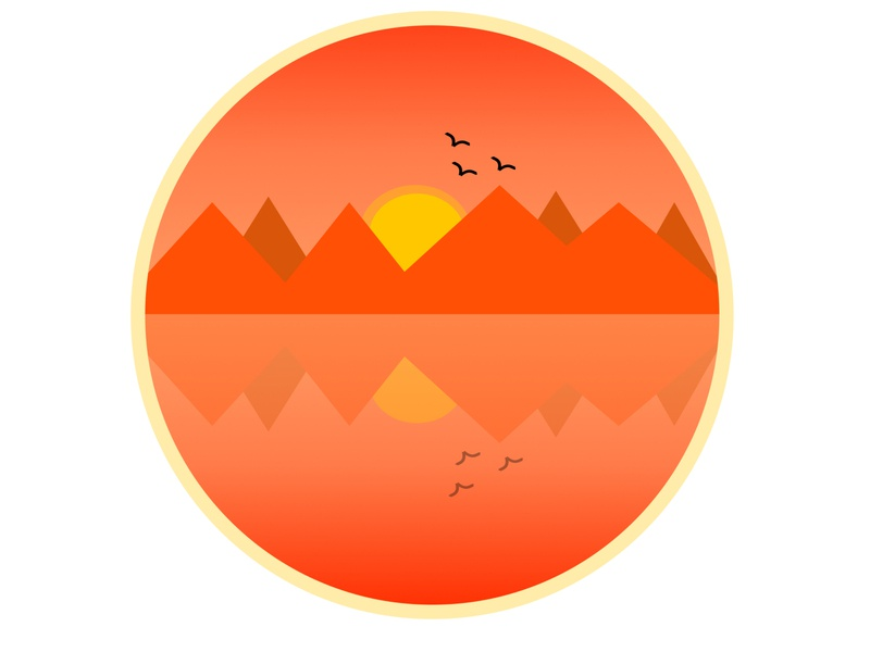 Sunrise Nature logo figma badge mirroring 2d design sunrise