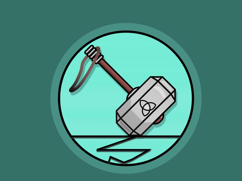 Thor's Hammer pure lightning avengers thorhammer stormbreaker marvel thunderstorm mjolnir thor icon flat design figma