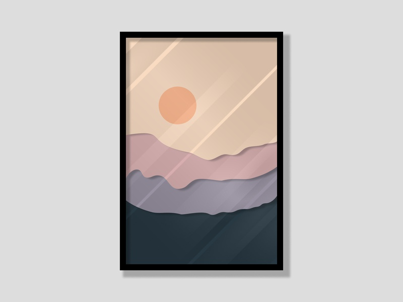 Wall Painting color mountains minimalist glass effect wallpainting wallpaper sunrise minimal design figma
