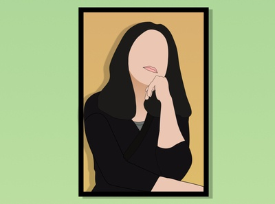 Portrait illustration stay home stay safe idle frame portrait art characters pose sitting wallpaper illustration design figma