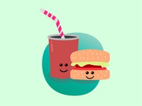 Hammburger and coke food food porn burger straw gradient beginner learner graphic design illustrator medium meal perfect combo hamburger coke adobe illustrator i love you