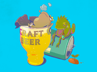 Craft beer onsen illustration character design