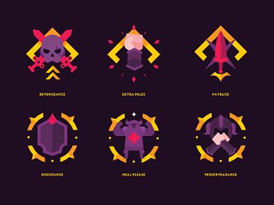ACHIEVEMENT TRAITS logo badges game art game design ui icon vector illustration