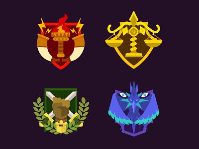 Quest Emblem league kings apple arcade game game art design ui badges icon vector illustration