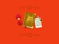 Snow White books and apple