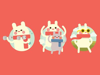 Rabbit 2 vector icon illustration character design