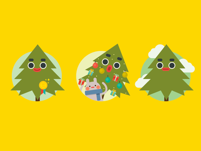 Christmas Tree vector icon illustration character design