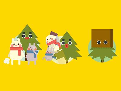 Christmas Tree   The Rabbit vector icon illustration character design