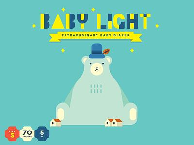 Baby Light DIAPER branding packaging character design illustration