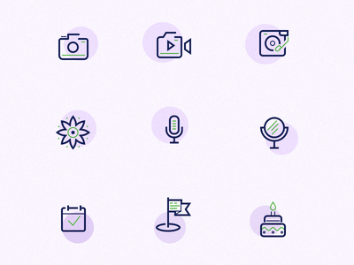 Icons Set for Web project cake calendar flag music video flower photo web icons