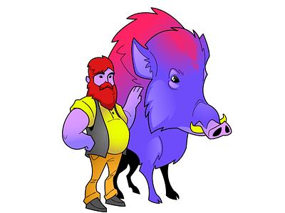 One man and his wild boar innkeeper boar imaginative affinitydesigner design cartoon vector illustration digitalart characterdesign