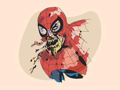 Retro Zombie Spiderman vector art walking dead superhero marvel spiderman zombie photoshop design vector retro illustration
