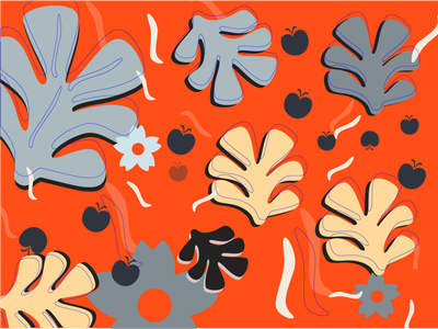 Colorful leaves print orange tropical leaves colorful playful shapes fun bright print vector illustration retro