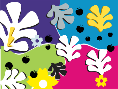 90s Inspired Print saved by the bell fresh prince shapes tropical leaves tropical playful squiggly vector illustration fun colorful bright nineties 90s