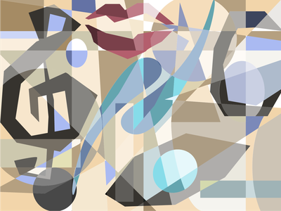 Neutral Cubism vector artwork muted neutral illustration adobe illustrator cc polygons musical notes modernist post modernism cubist picasso shapes geometric lips music treble clef adobe illustrator vector art cubism