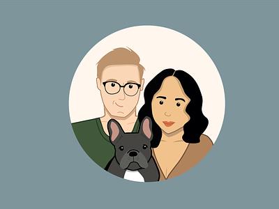 Family Portrait adobe illustrator vector art design illustration illustrator character family puppy french bulldog vector family portrait christmas avatar