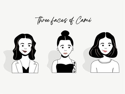 Three faces of Cami self portrait cartoons cartoon avatar design adobe illustrator vector illustration cartoon portrait avatar design black and white avatar