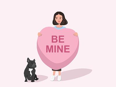 Be My Valentine hearts candy hearts vector art colorful design adobe illustrator vector illustration avatar dog bulldog french bulldog romance be mine pink love valentines dribbbleweeklywarmup