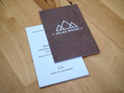 j.w. atlas wood co. business card