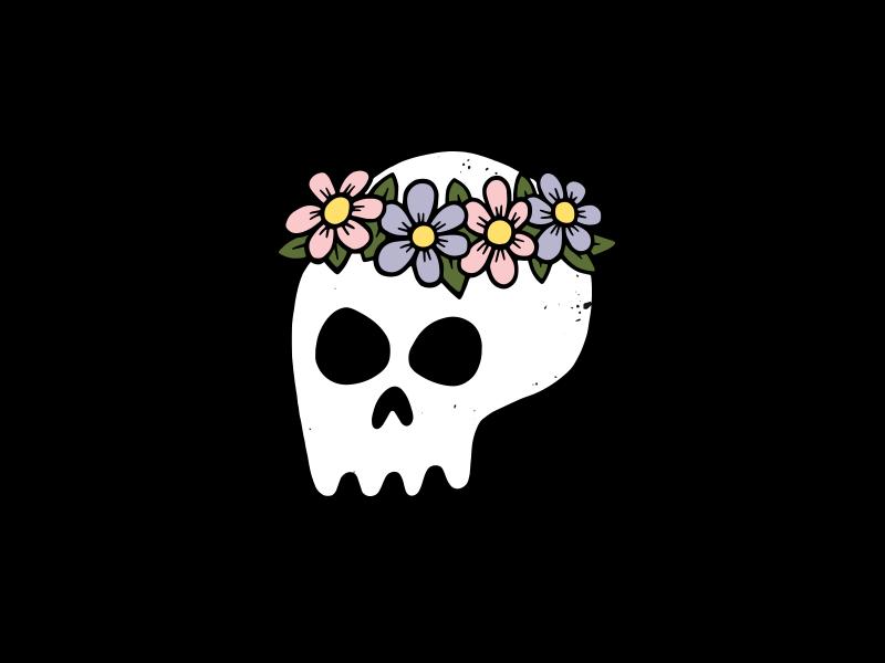 Bride's Skull icon flowers skull vector art doodle design drawing illustration