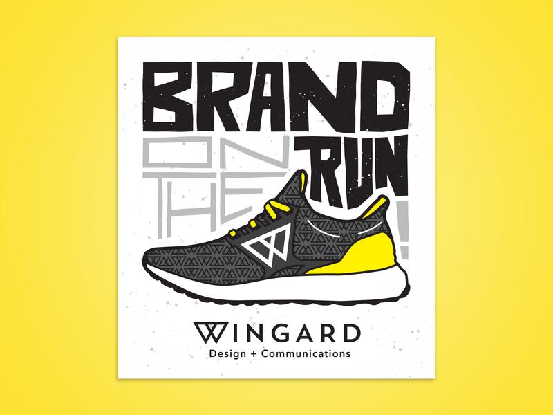 Brand on the Run typography type running shoe sticker drawing design illustration