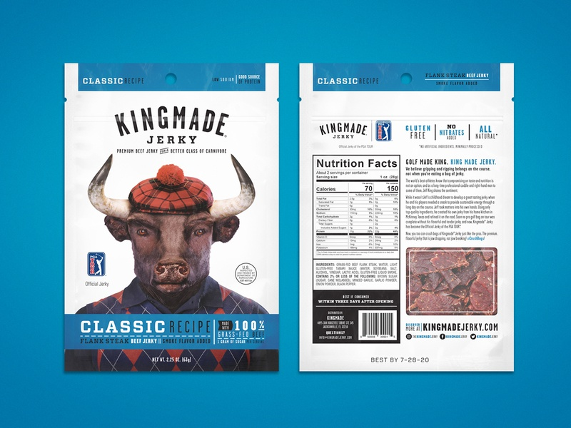 Kingmade Jerky Packaging Classic Recipe layout design layout package kingmade kingmade beef jerky packaging type design