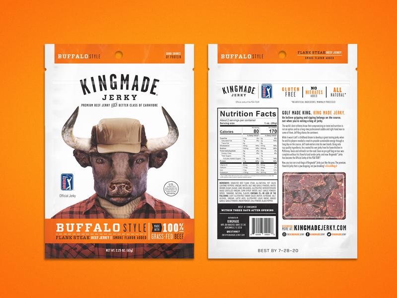 Kingmade Jerky Packaging Buffalo Style pga typography package packaging layout kingmade design beef jerky