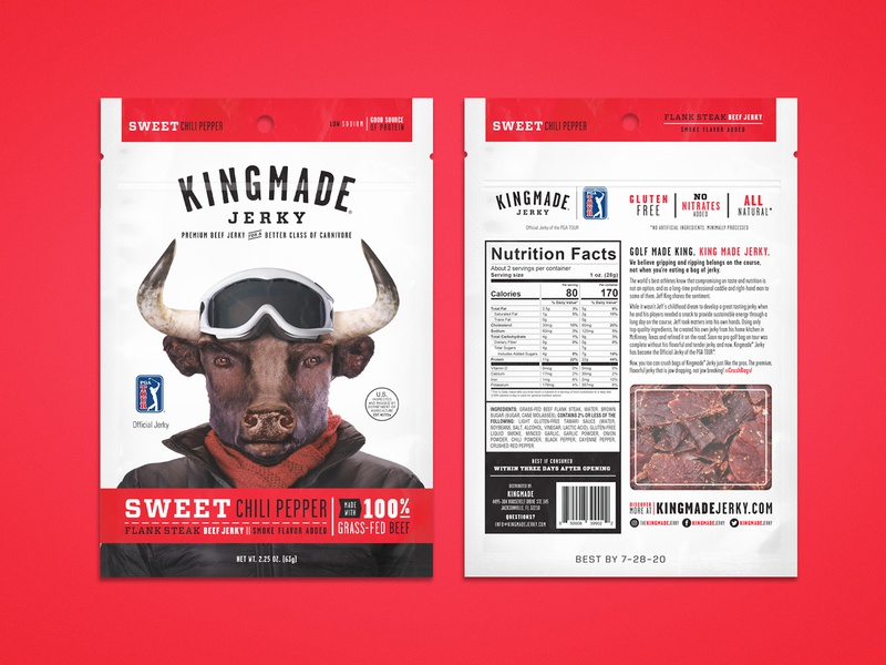 Kingmade Jerky Packaging Sweet Chili Pepper beef jerky typography design pga kingmade layout packaging package