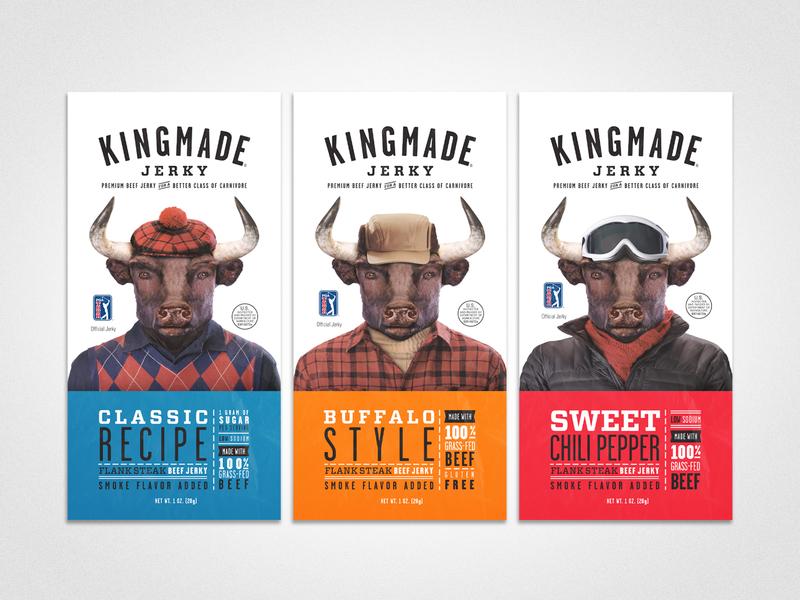 Kingmade Jerky 1 oz Packaging packaging design logo design kingmade pga layout package packaging beef jerky