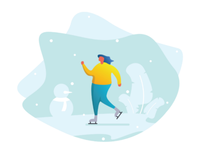 Ice Skate Flat Illustration colorfull simple skate ice winter illustration flat