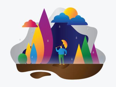 Rain vector graphic simple art umbrella rain colorfull design flatillustration flat illustration
