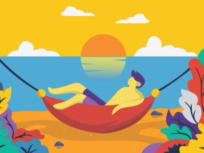 Relax in the Summer beach colorfull simple inspiration imagination vector art graphic design illustration flat summer relax