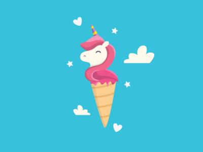 Ice Cream Unicorn art child colorfull kids imagination vector flat design illustration sweet cute pink pony little horse unicorn cream ice