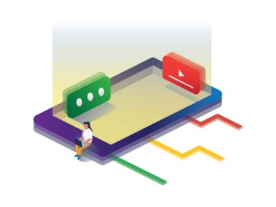 Social Media modern gadget imagination vector 3d isometric graphic art design illustration flat media social