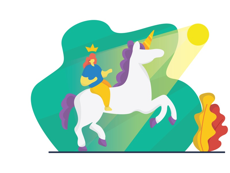 Princess and Unicorn imagination flat simple colorfull graphic vector design illustration design art illustration flat illustration unicorn princess