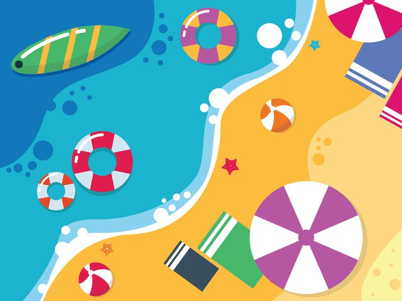 Summer Beach 2020 holiday summer beach imagination simple graphic vector colorfull art design illustration flat