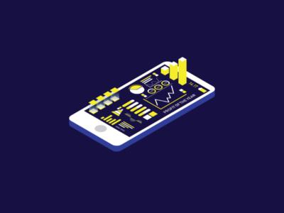 Business infographic data management vector 3d illustration gadget yellow design graphic art digital business isometric